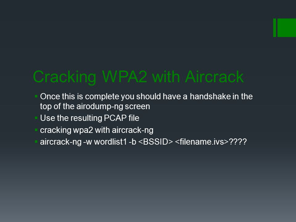 Cracking WPA2 with Aircrack