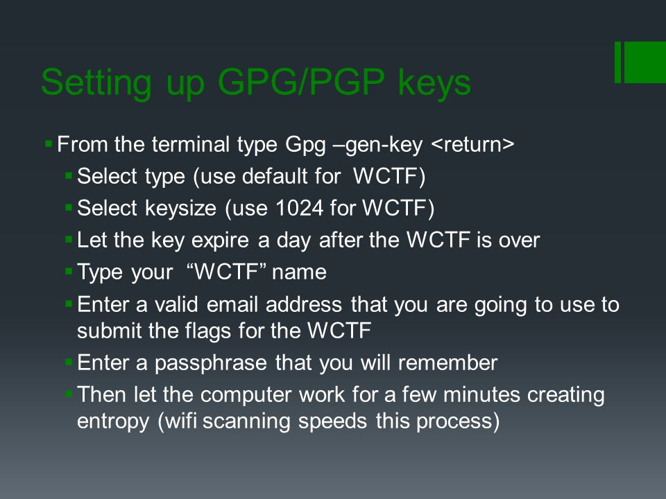 Setting up GPG/PGP keys