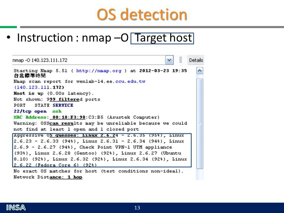 OS detection Instruction : nmap –O Target host