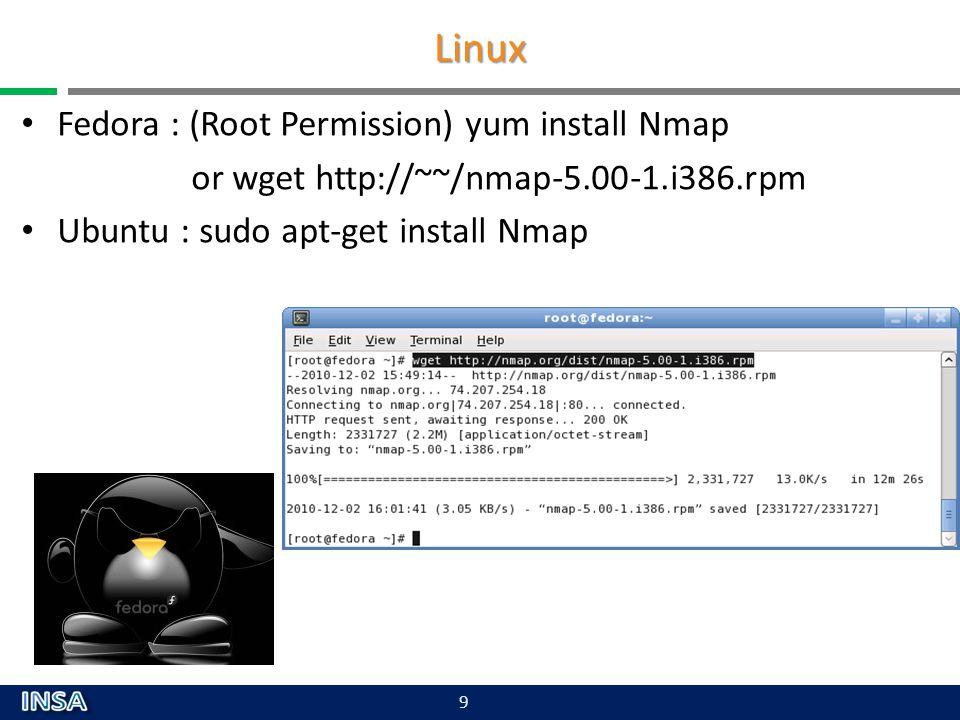 Linux Fedora : (Root Permission) yum install Nmap