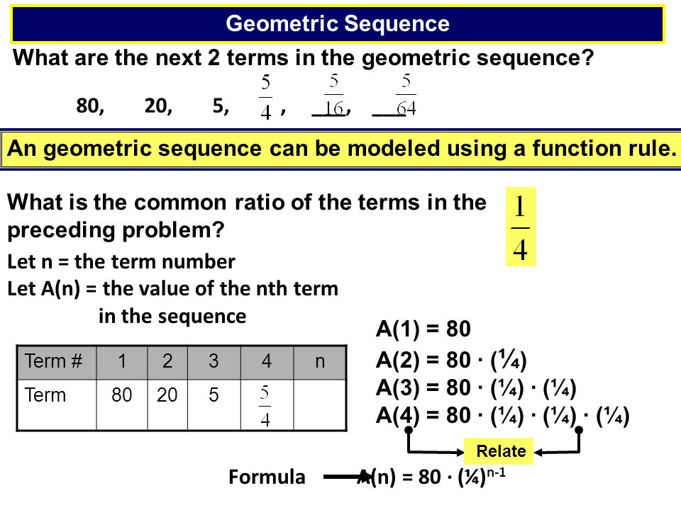 What are the next 2 terms in the geometric sequence