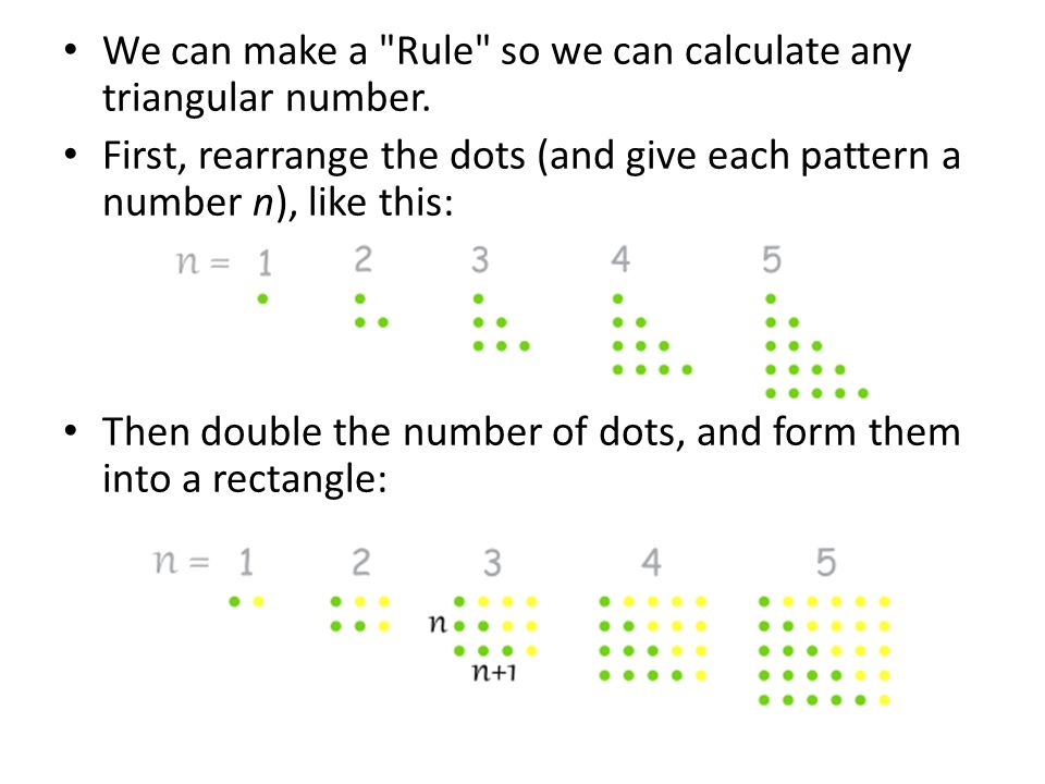 We can make a Rule so we can calculate any triangular number.