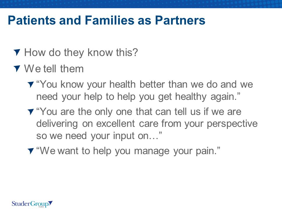Patients and Families as Partners