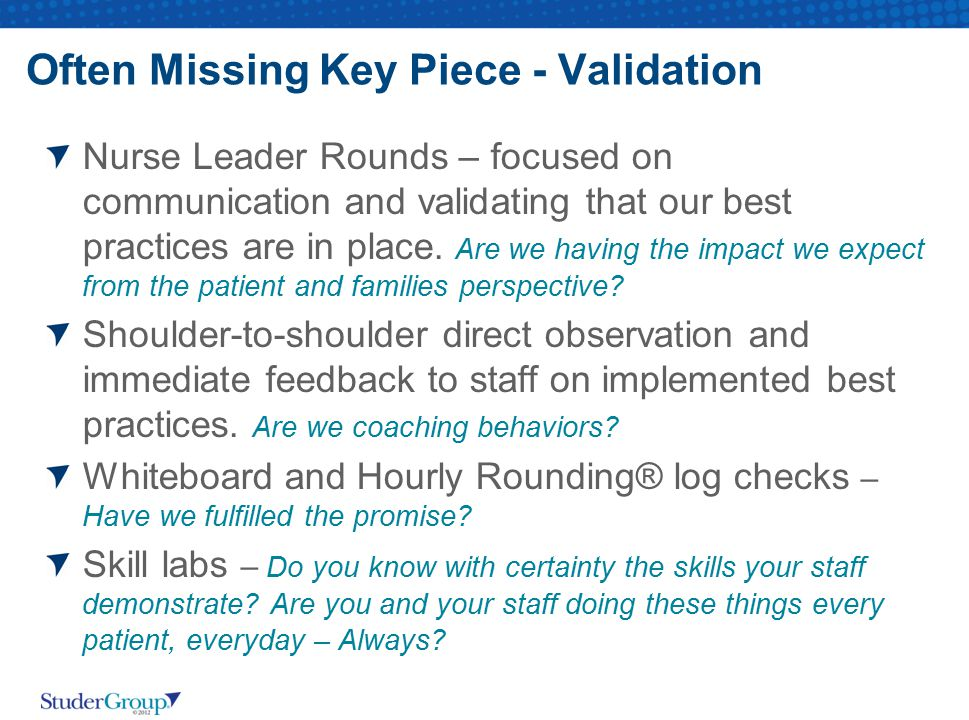 Often Missing Key Piece - Validation