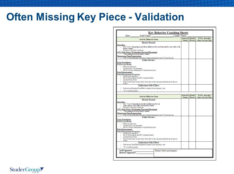 Often Missing Key Piece - Validation