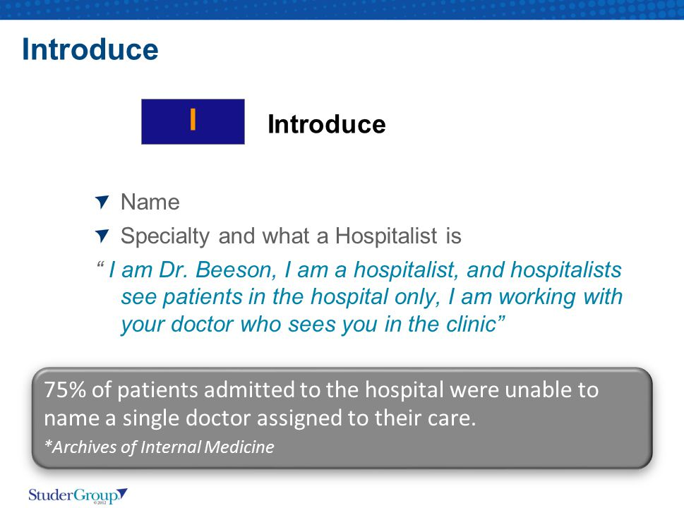 Introduce I. Introduce. Name. Specialty and what a Hospitalist is.