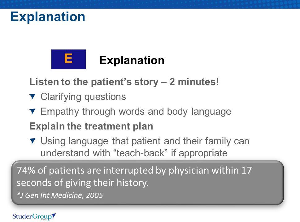 Explanation E Explanation