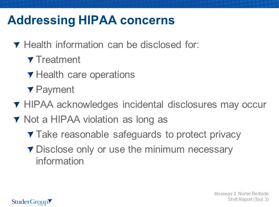 Addressing HIPAA concerns
