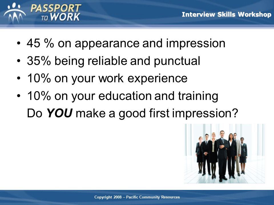 45 % on appearance and impression 35% being reliable and punctual