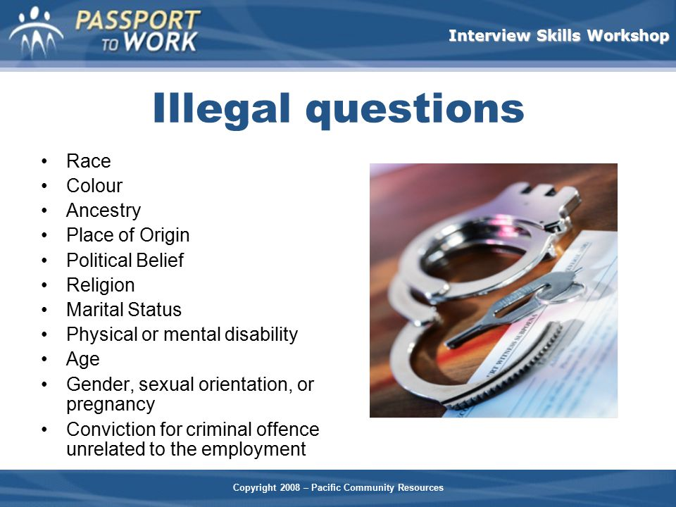 Illegal questions Race Colour Ancestry Place of Origin