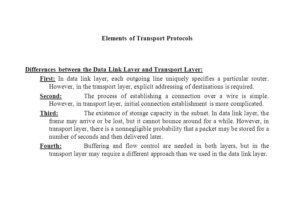 Elements of Transport Protocols