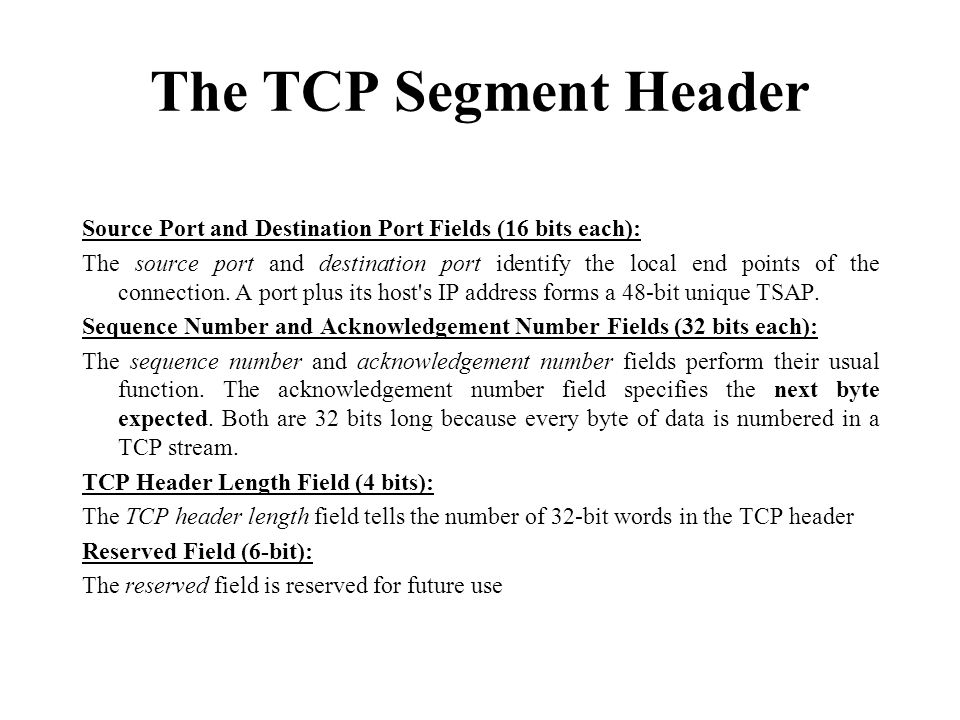 The TCP Segment Header Source Port and Destination Port Fields (16 bits each):