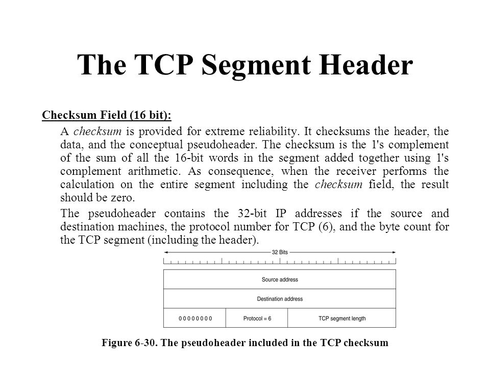 Figure 6-30. The pseudoheader included in the TCP checksum