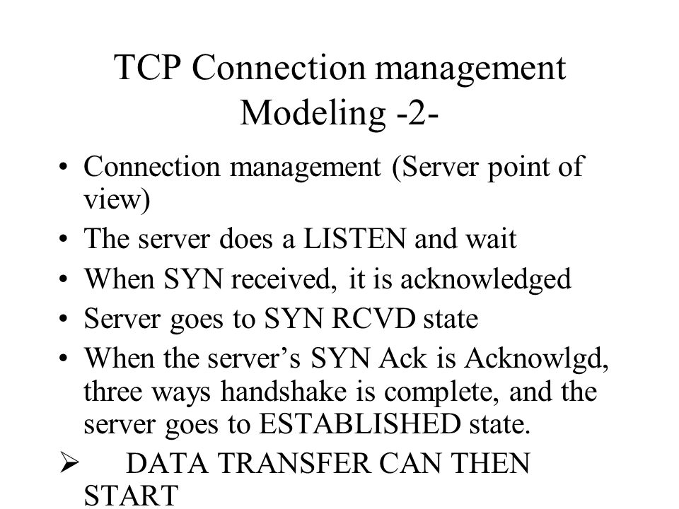 TCP Connection management Modeling -2-