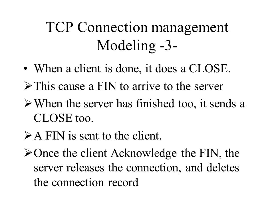 TCP Connection management Modeling -3-