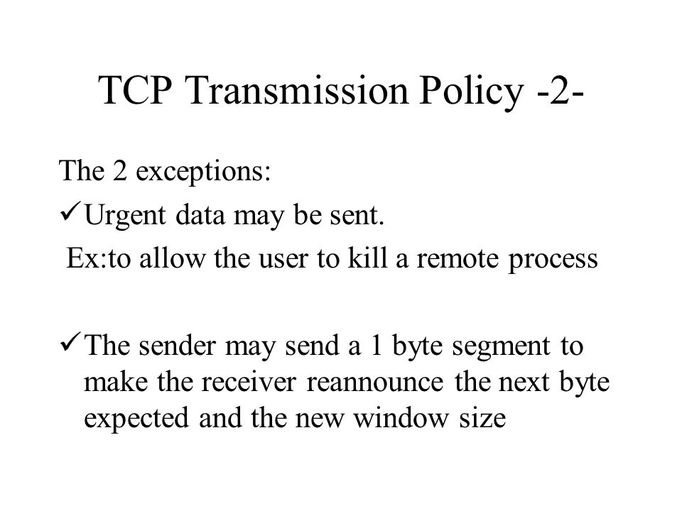 TCP Transmission Policy -2-