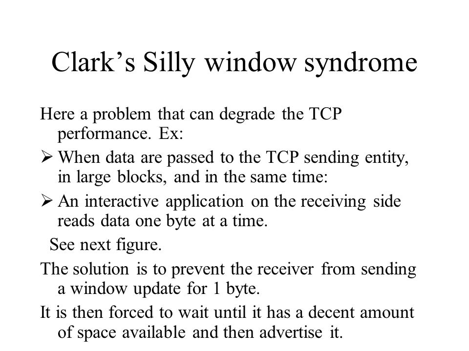 Clark's Silly window syndrome