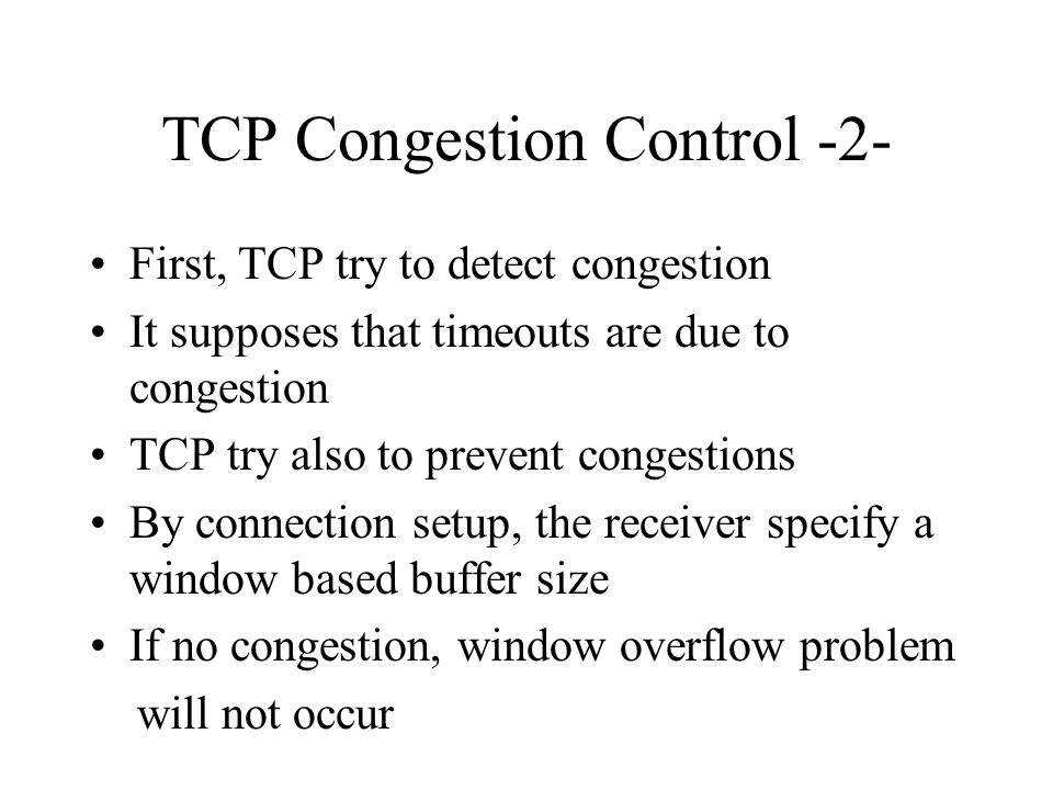 TCP Congestion Control -2-