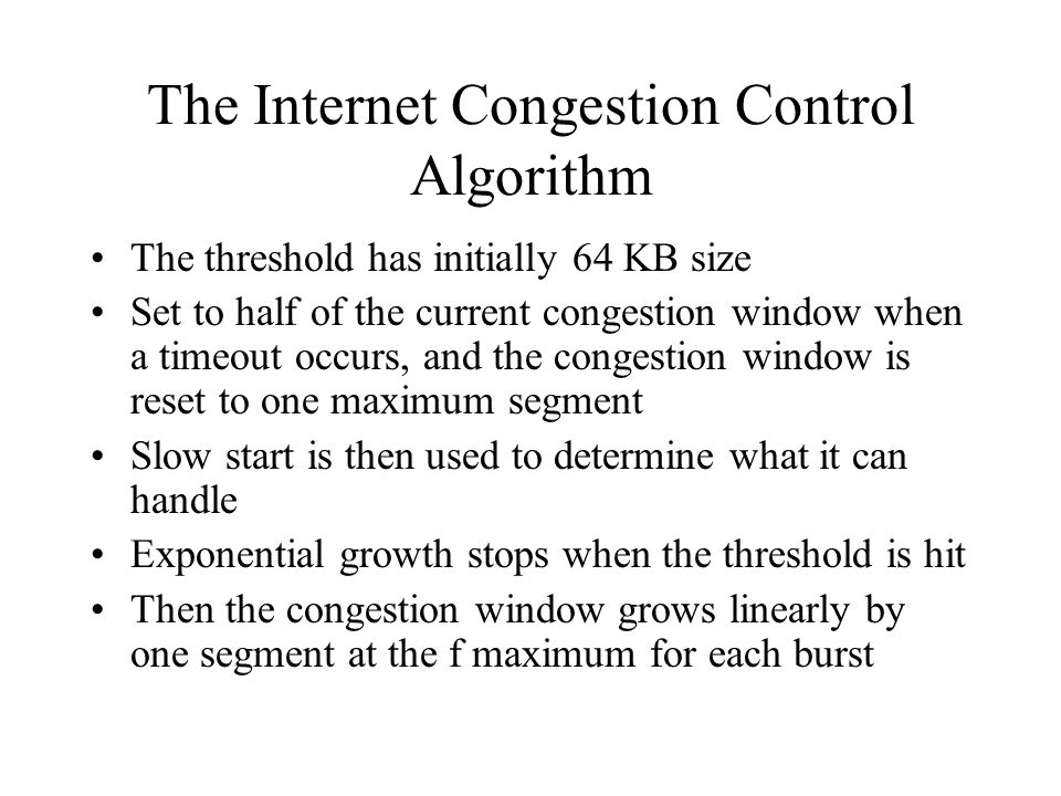 The Internet Congestion Control Algorithm