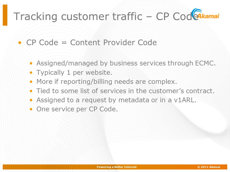Tracking customer traffic – CP Code