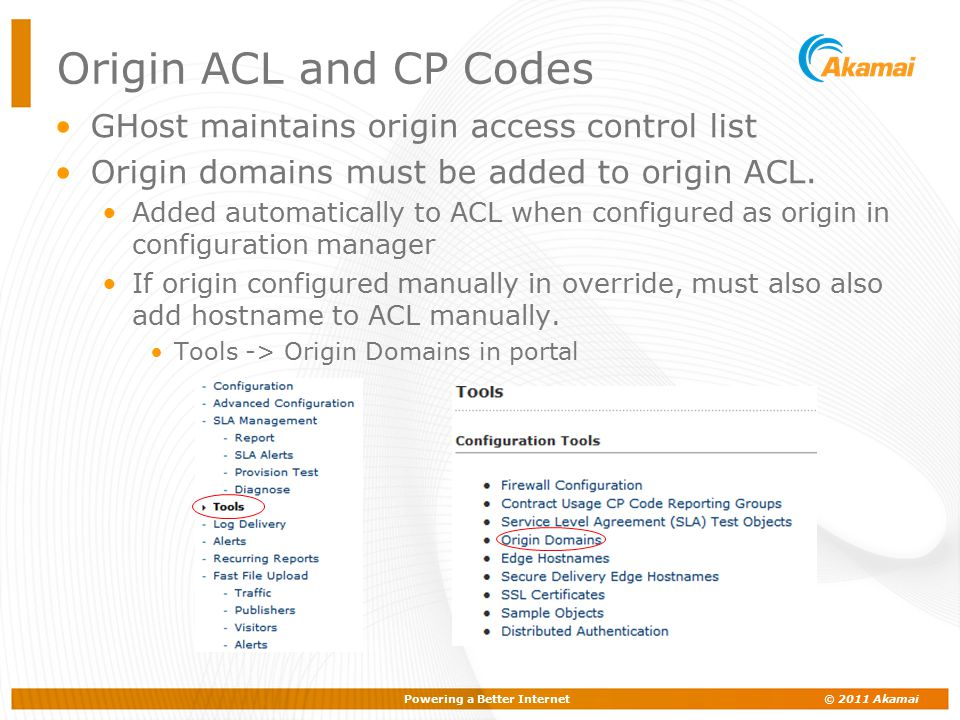 Origin ACL and CP Codes GHost maintains origin access control list