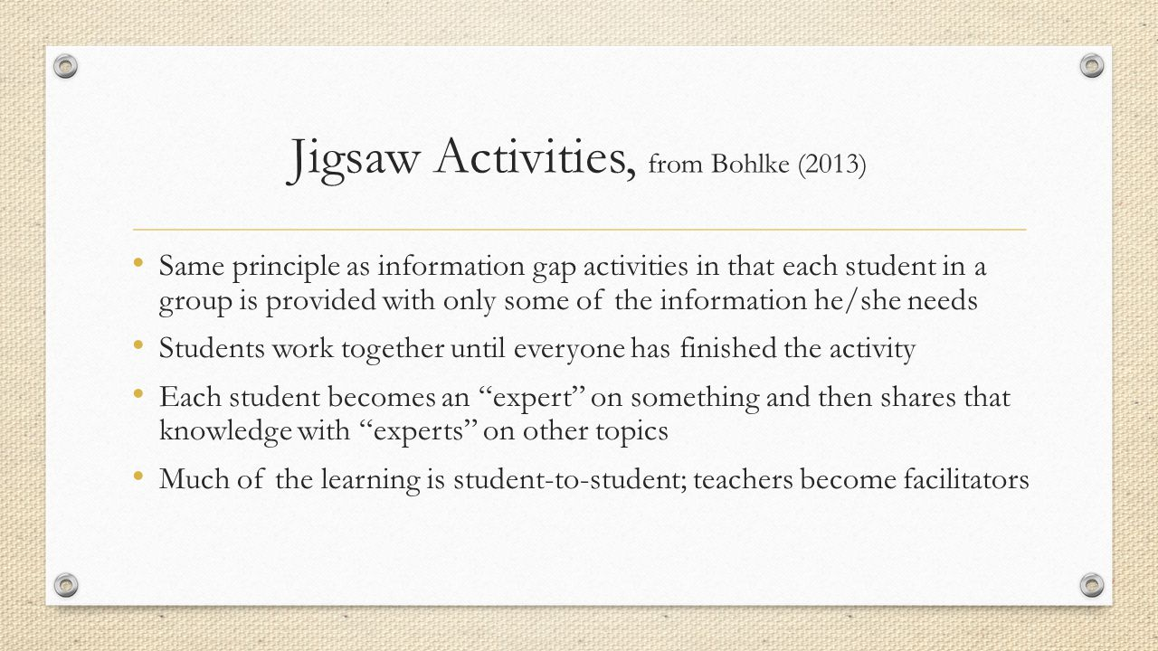Jigsaw Activities, from Bohlke (2013)