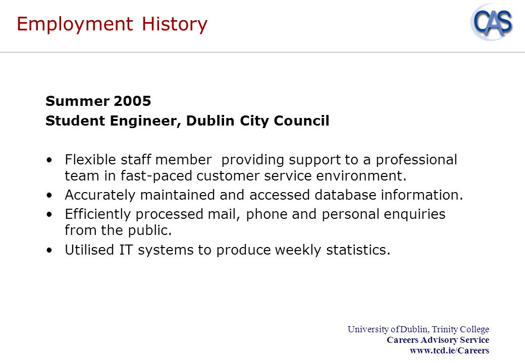 Employment History Summer 2005 Student Engineer, Dublin City Council