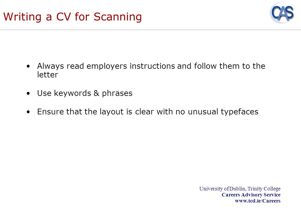 Writing a CV for Scanning