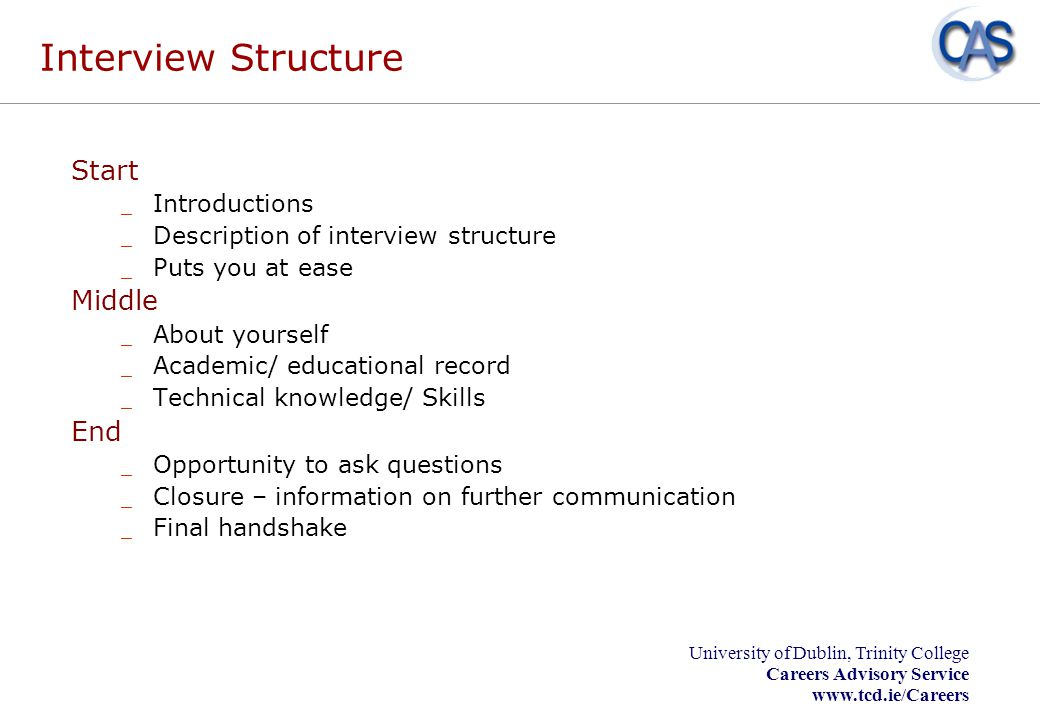 Interview Structure Start Middle End Introductions
