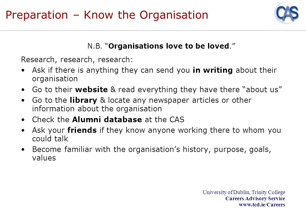 Preparation – Know the Organisation