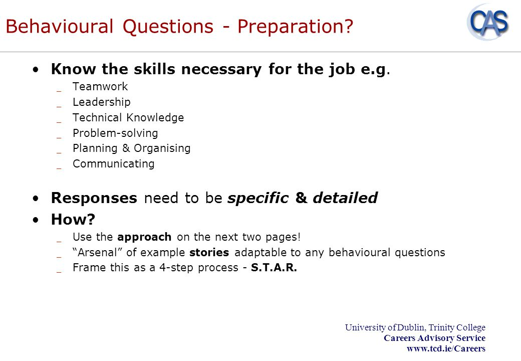 Behavioural Questions - Preparation