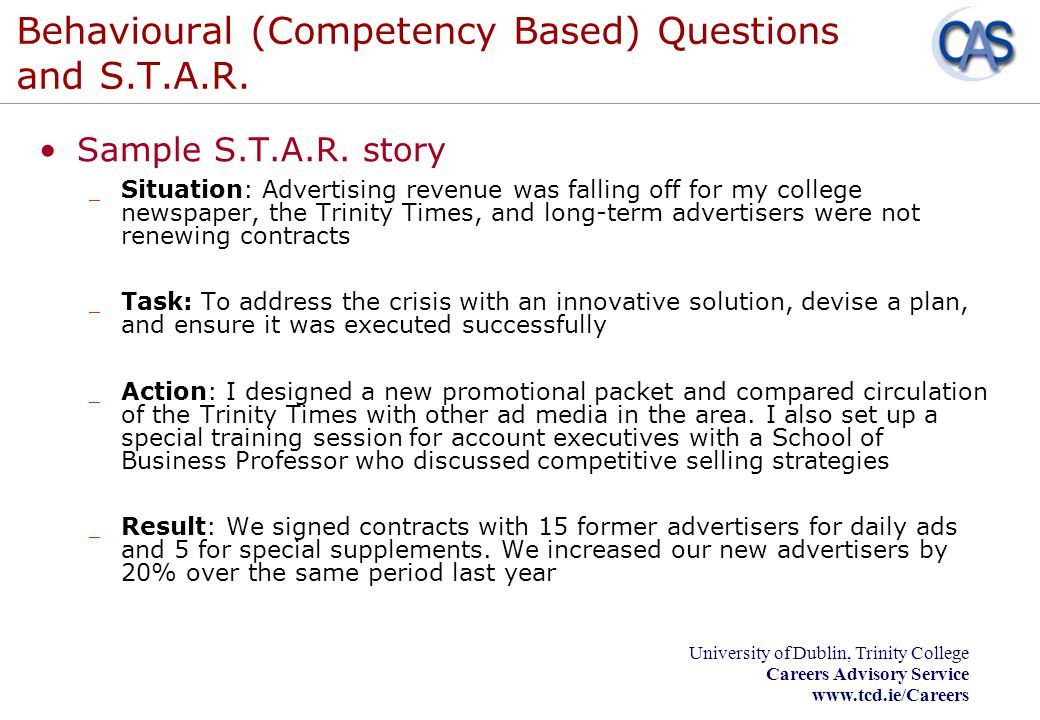 Behavioural (Competency Based) Questions and S.T.A.R.