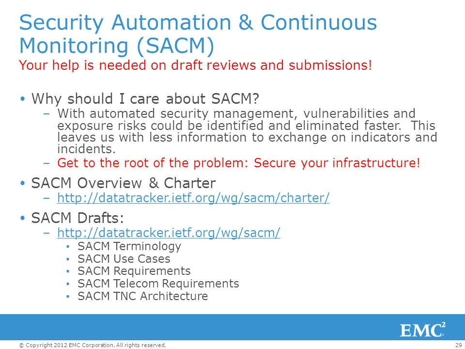 Security Automation & Continuous Monitoring (SACM)