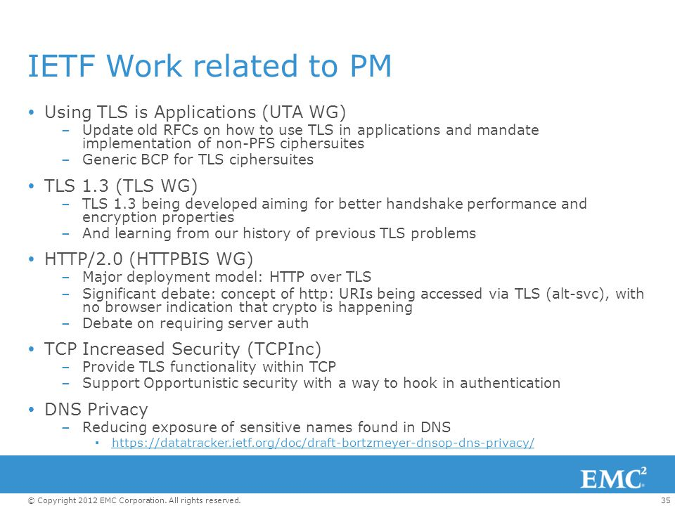IETF Work related to PM Using TLS is Applications (UTA WG)