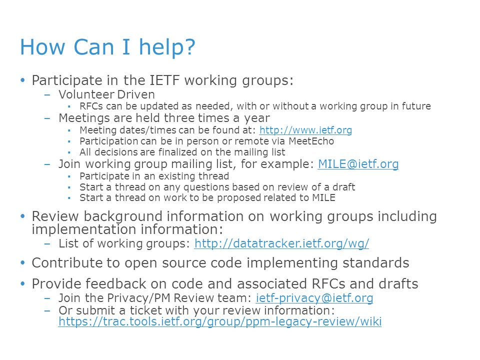 How Can I help Participate in the IETF working groups: