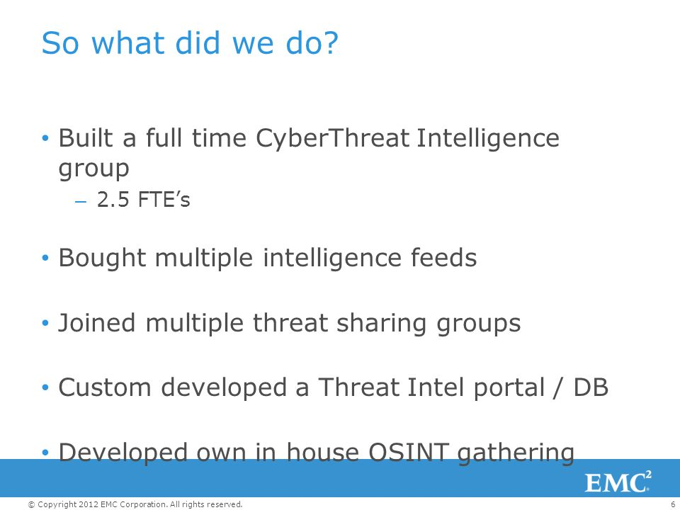 So what did we do Built a full time CyberThreat Intelligence group