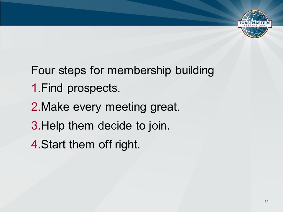 Four steps for membership building Find prospects.