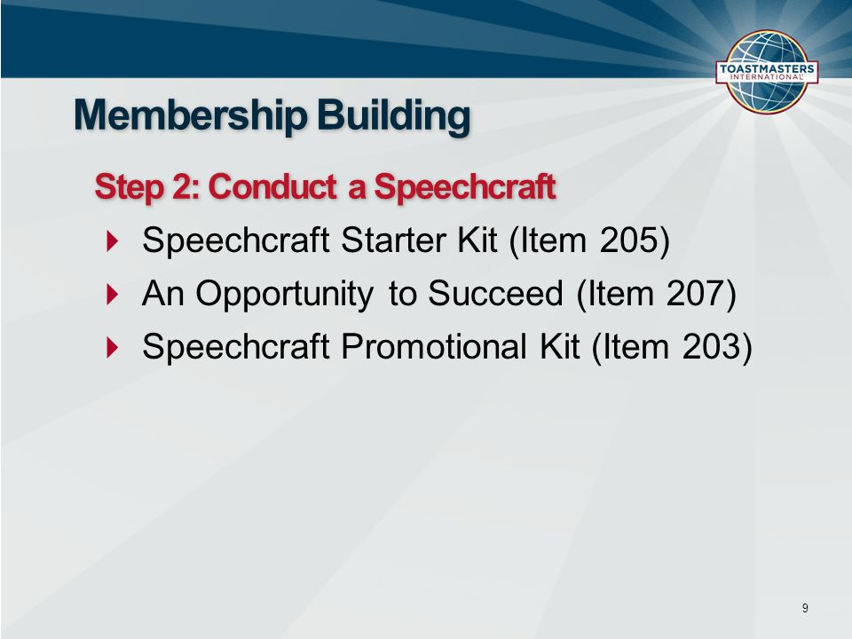 Membership Building Step 2: Conduct a Speechcraft