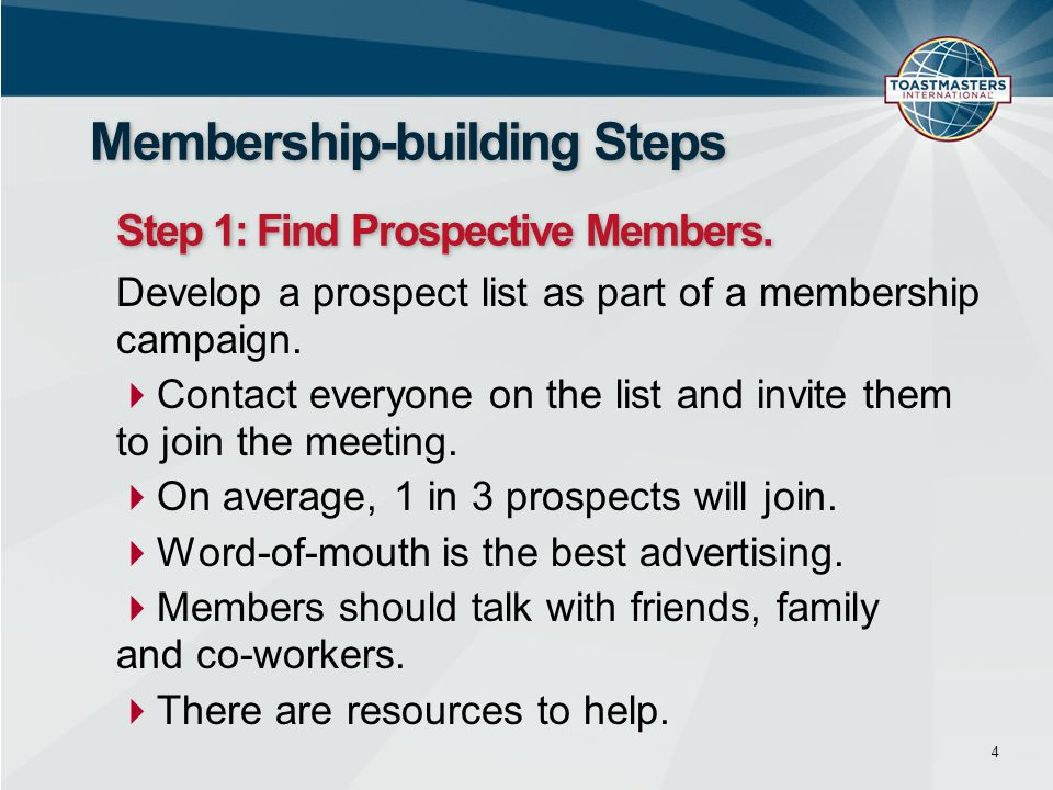 Membership-building Steps