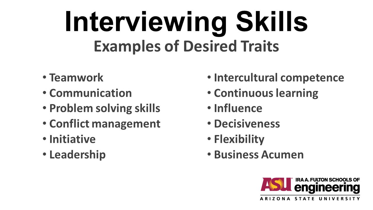 Interviewing Skills Examples of Desired Traits