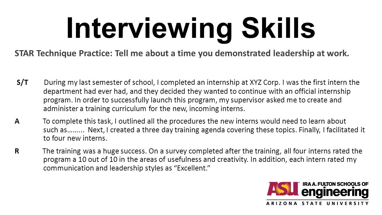 Interviewing Skills STAR Technique Practice: Tell me about a time you demonstrated leadership at work.
