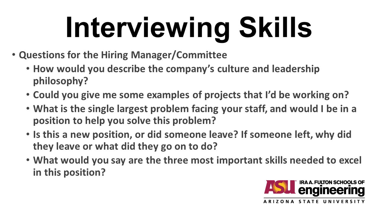 Interviewing Skills Questions for the Hiring Manager/Committee