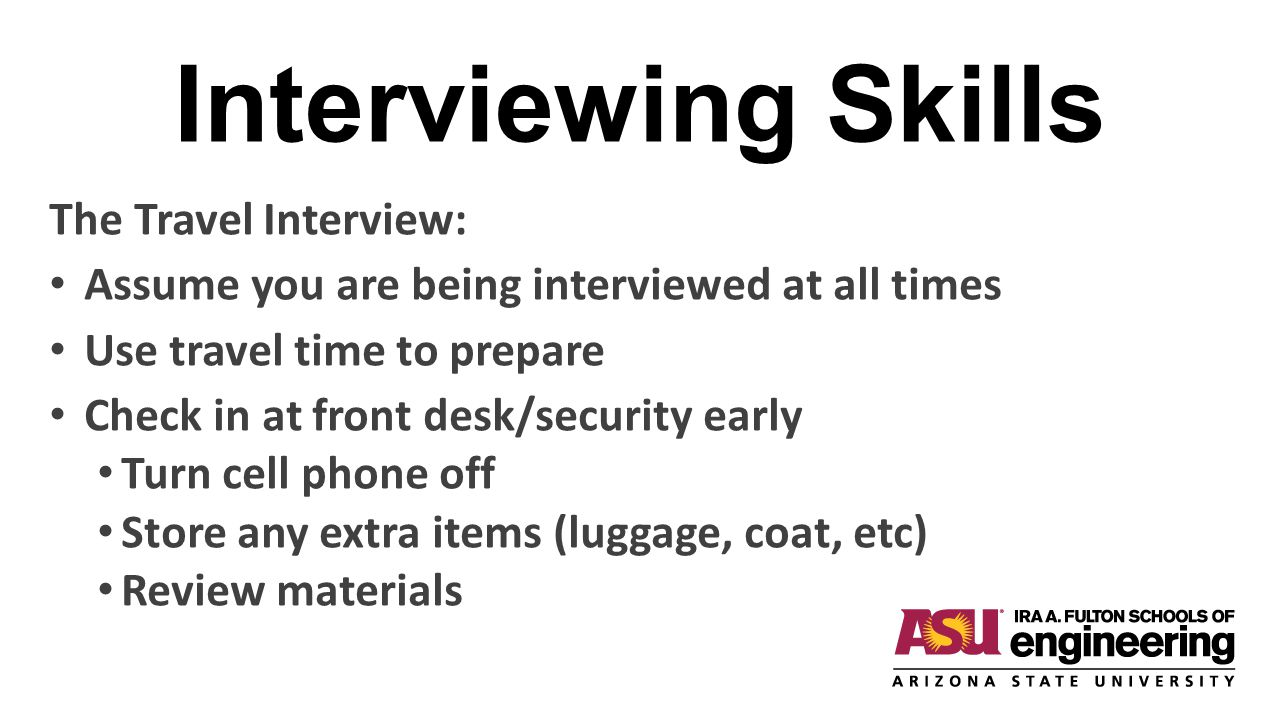 Interviewing Skills The Travel Interview:
