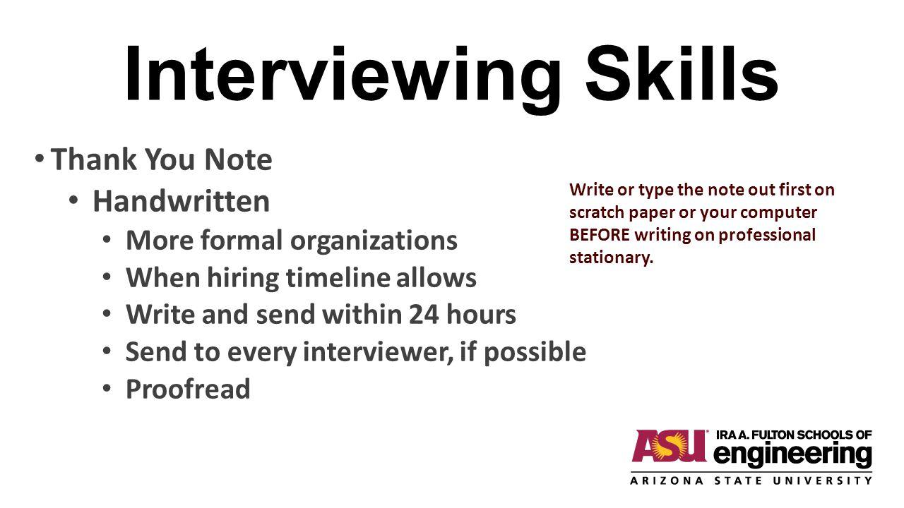 Interviewing Skills Thank You Note Handwritten