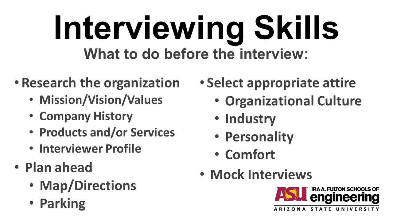 Interviewing Skills What to do before the interview: