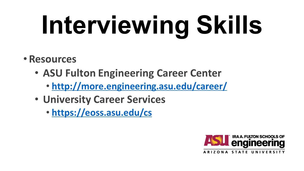 Interviewing Skills Resources ASU Fulton Engineering Career Center