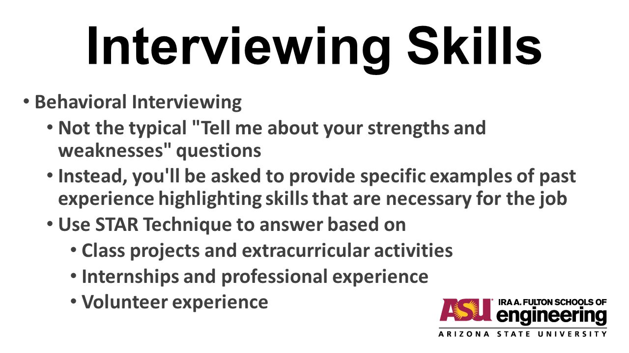 Interviewing Skills Behavioral Interviewing