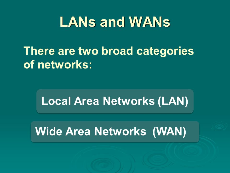 LANs and WANs There are two broad categories of networks:
