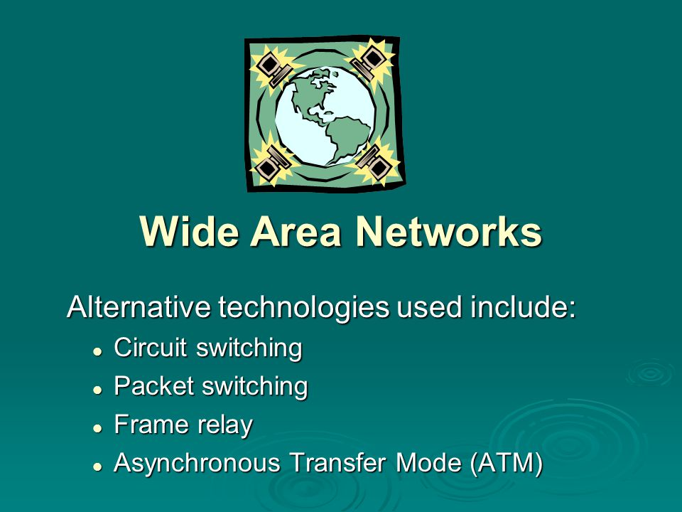 Wide Area Networks Alternative technologies used include: