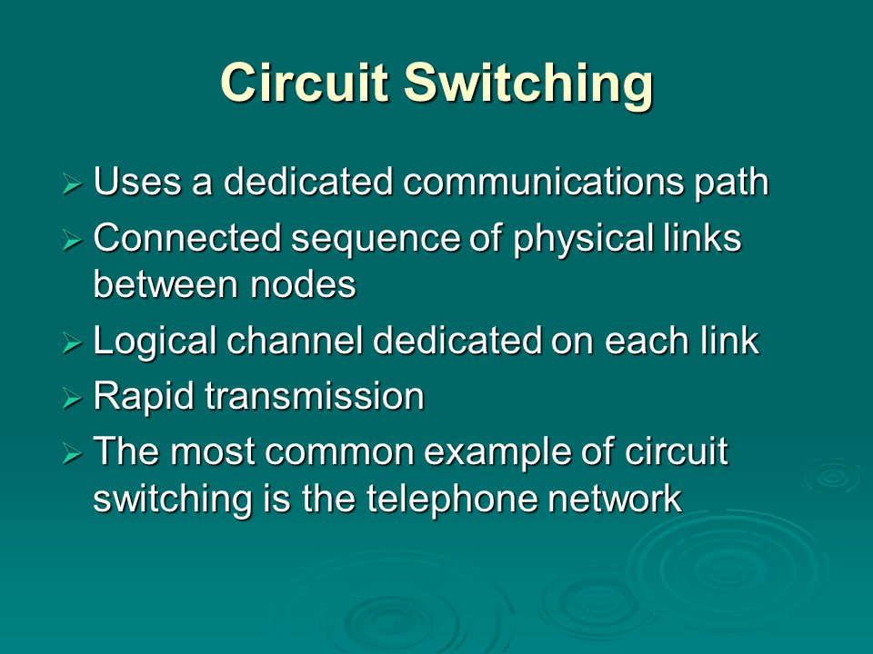 Circuit Switching Uses a dedicated communications path